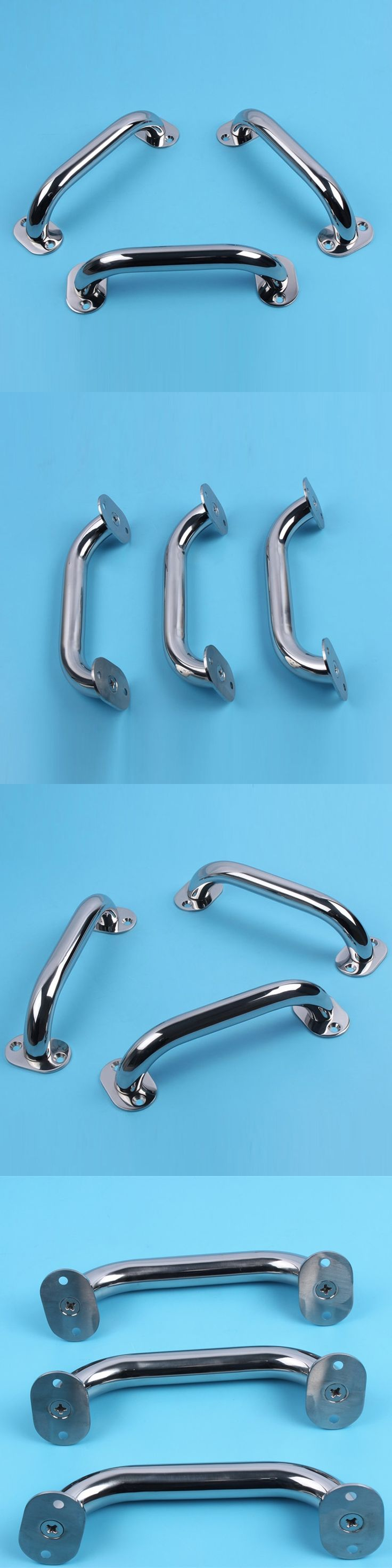 "9"" Mirror Polished 316 Stainless Steel Hatch Grab Handle Door Handrail 3 pieces boat accessories marine"