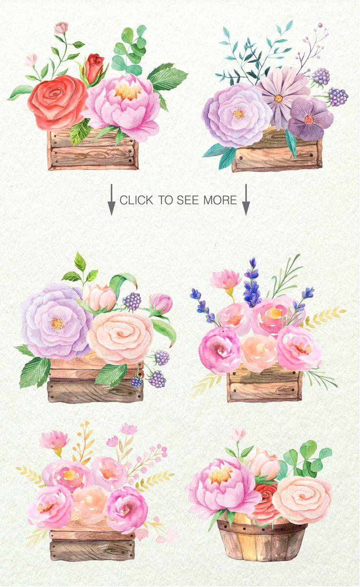 Watercolor Floral Box by LarysaZabrotskaya on Creative Market