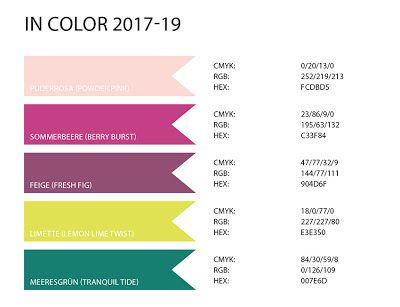 Stampin' Up! rosa Mädchen Kulmbach: Farbwerte der neuen InColor Farben 2017-19 (RGB / CMYK / HEX) Color Codes