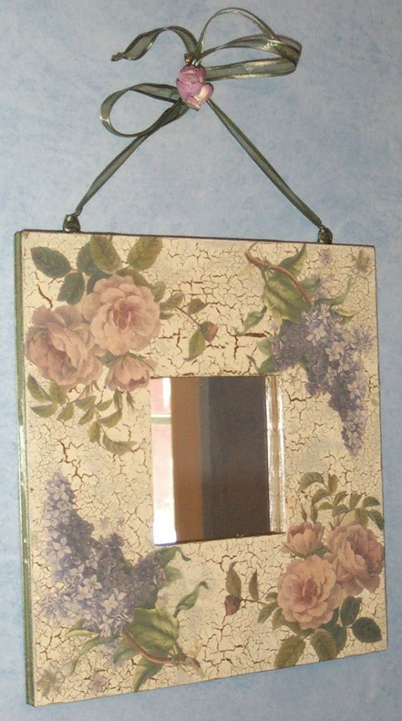 Lilacs and Roses - Crackled Finish Decorative Mirror LOVELY on Etsy, $35.00