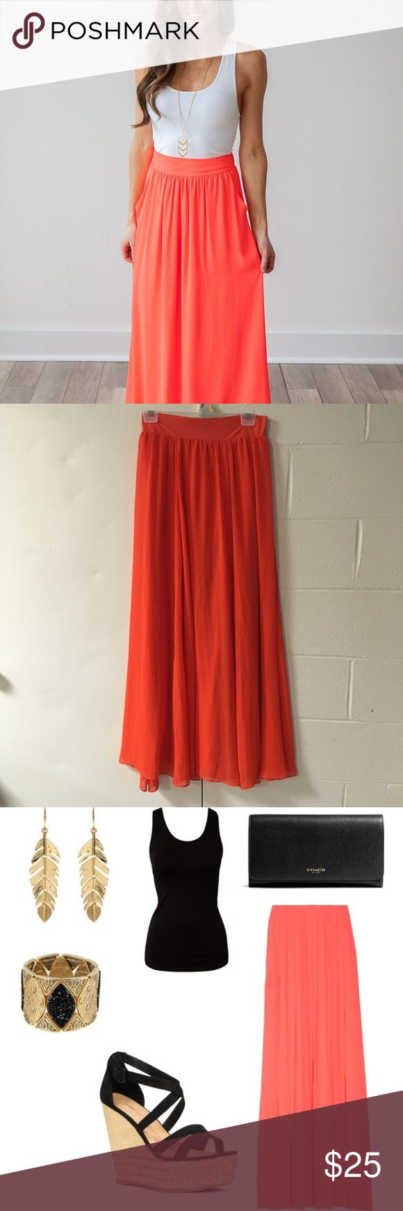 Coral Maxi Skirt Like new--only worn once Perfect condition, fully lined New York & Company Skirts Maxi