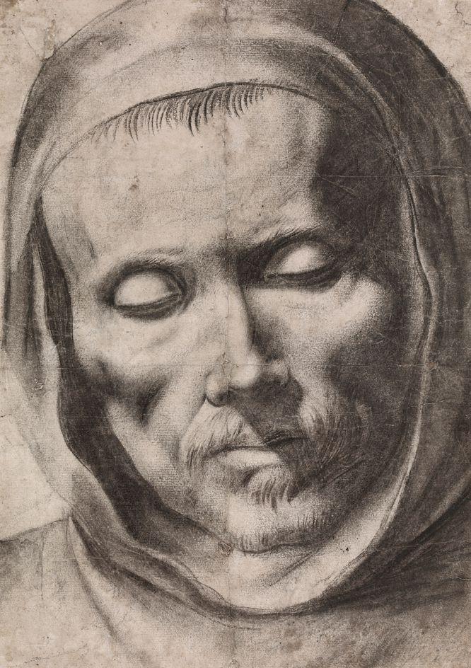 'Cabeza de monje'. Atribuido a Francisco de Zurbarán. Lápiz negro, aguada gris con trazos de pluma y tinta.