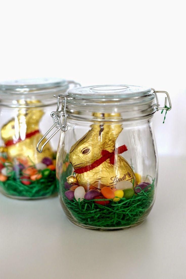 Osternest im Glas - hübsche Idee! (z.B. als kleines Give-Away für Oster-Brunch-Gäste)