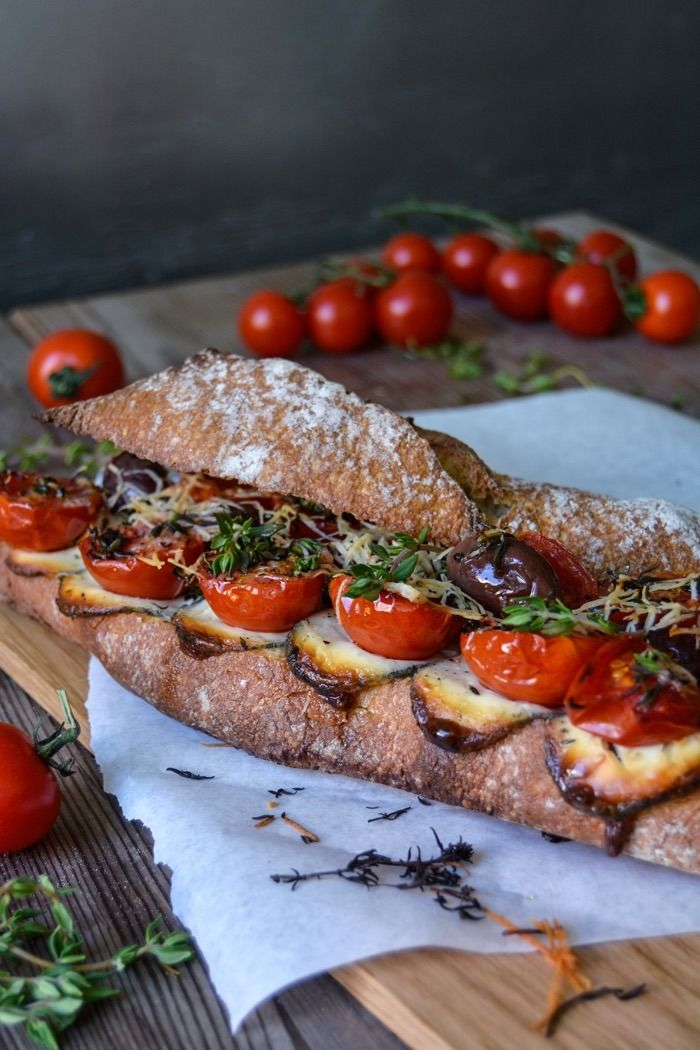 Grilled Tomato, Chèvre and Thyme Baguette Sandwich.