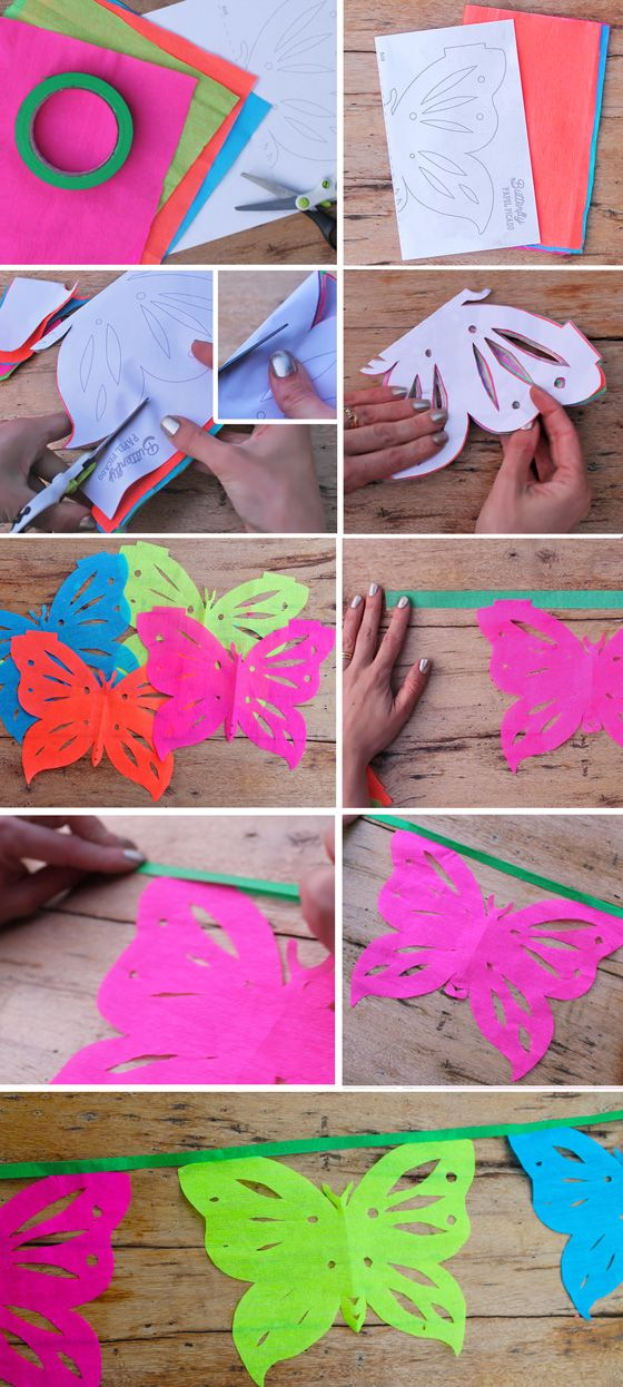 instructions and tutorial on how to make butterfly papel picado garlands