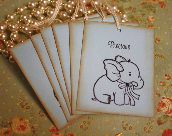 Gift Tags Baby Shower Precious Powder Blue by asweetlittlenote, $5.50