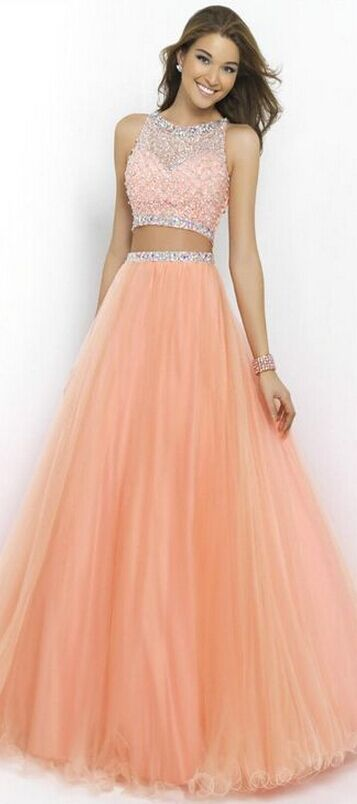Custom Made Pink Prom Dress, Two Pieces Prom Dress, Beading Prom Dress, Fashion Tulle Prom Dress, Long Prom Dress, Evening Dress, Party Dresses