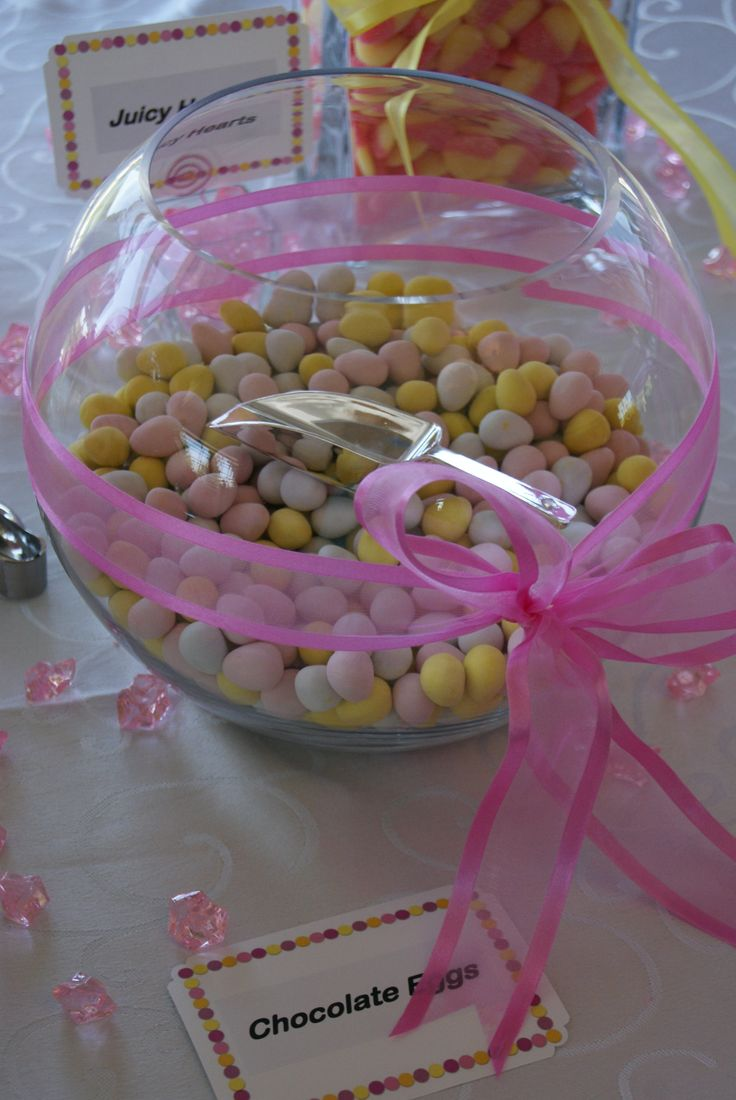 Pink Yellow Purple Baby Shower Part - 33: Pink U0026 Yellow Baby Shower - Dessert / Sweets Table - Chocolate Eggs