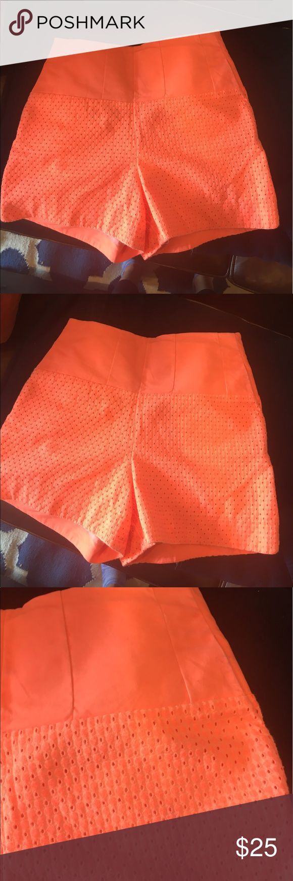 "ANTHROPOLOGIE  sunburst eyelet shorts Cute muted neon orange color and eyelet , high waisted. Cartonnier for Anthropologie, 3"" inseam Anthropologie Shorts"
