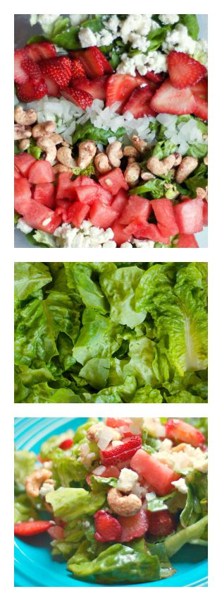 Strawberry Watermelon Salad with Cashews and Sweet Pesto Dressing   reluctantentertainer.com