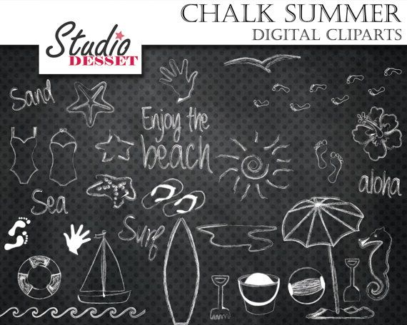 Summer Chalkboard Cliparts Beach Digital Clip Art by StudioDesset, $4.40