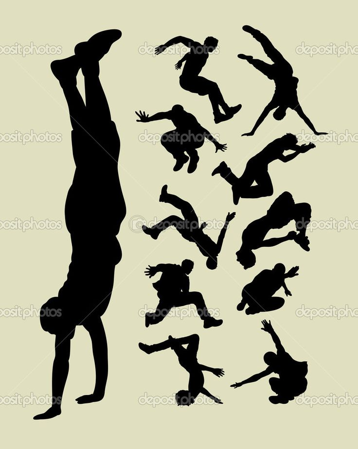 Parkour Silhouettes - Stock Illustration: 28258443