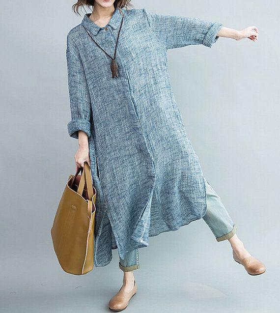 Women Single breasted large size long dress/ maxi dress/ by MaLieb