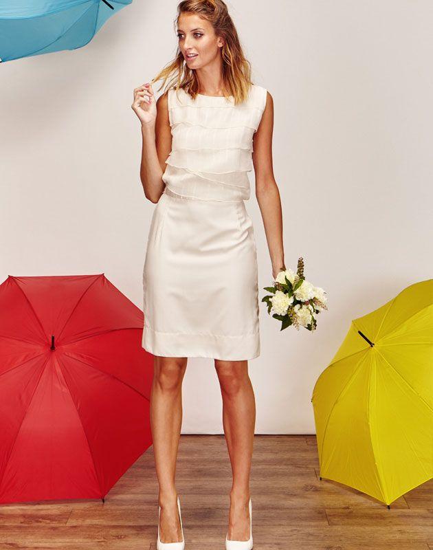 Robe de mariée tailleur jupe crayon courte blanche avec volant de soie pas  cher , Boutique de créatrice de robe de mar\u2026