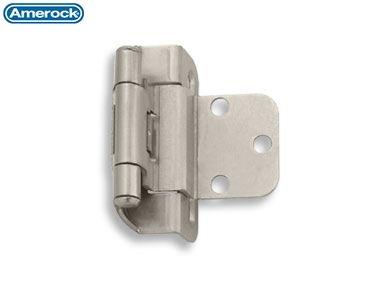 #7565 Amerock Self-Closing Hinge, Partial Wrap, 3/8 Inset, Satin Nickel (Sold as Pair)