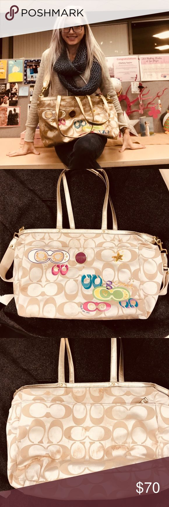 XL COACH Crossbody Travel Bag XL COACH Crossbody Travel Bag This is from their Poppy Collection  There are some stains on the bottom of the bag, but they can easily be washed out. No serious damage to the purse.  Perfect for traveling, baby diaper bag, school, work, or those weekend get aways! This tote needs a loving home!! Coach Bags Travel Bags