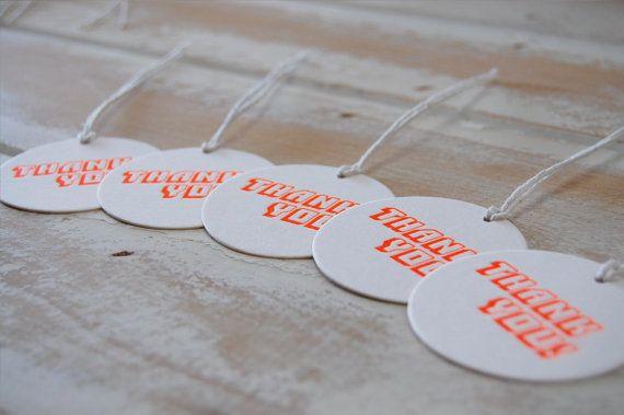 Thank You Neon Orange Letterpress Swing Tags 2  by LittlePeachCo, $10.00
