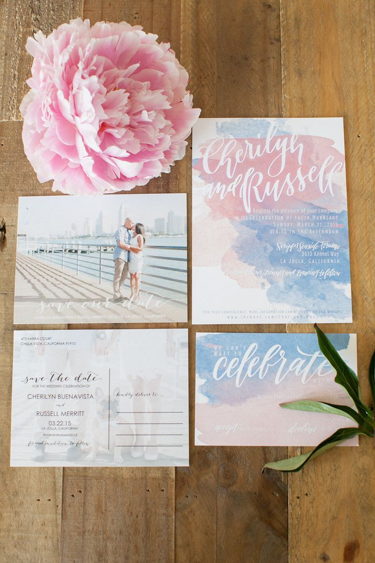 #pink and #blue #watercolor wedding #stationery @weddingchicks
