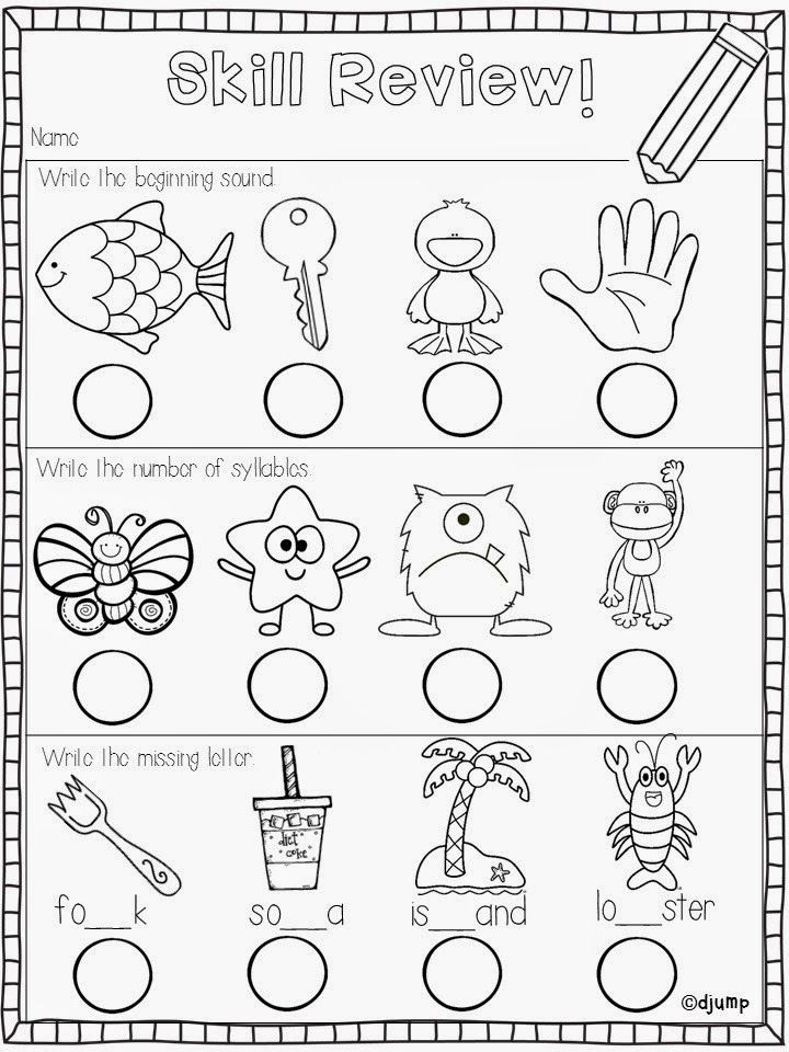 Collaborative Review Teaching : Skill review freebies for end of school kinderland