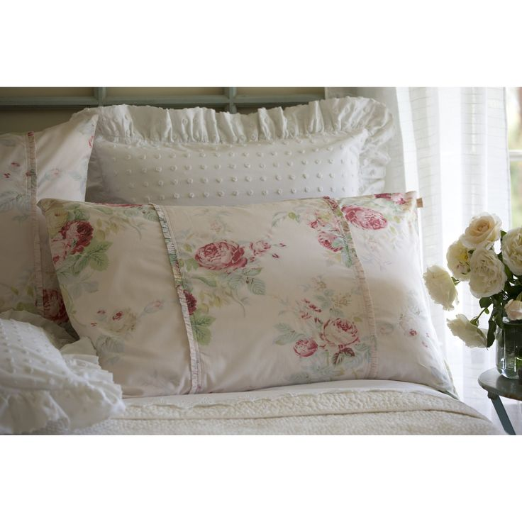 Taylor Linens King Sham Petal Pink Shore Rose with down/feather pillow insert - Shabby, French by avintagebliss on Etsy