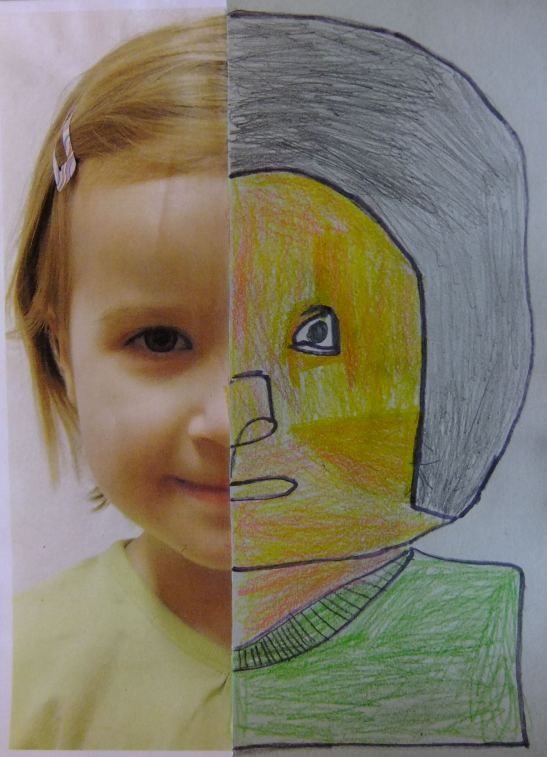 Half Self Portrait to teach proportion to 3-6 year olds- LOVE this idea!