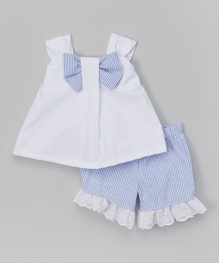 Another great find on #zulily! White & Blue Bow Top & Shorts - Infant & Toddler by Caught Ya Lookin' #zulilyfinds