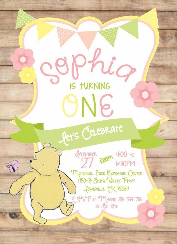 winnie the pooh invitations first birthday invitation first