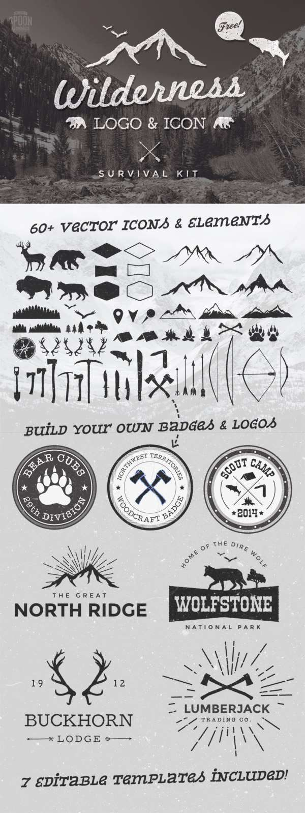 Free Wilderness Vector Graphics & Logo Template Kit #Logo #Template #goldclipart