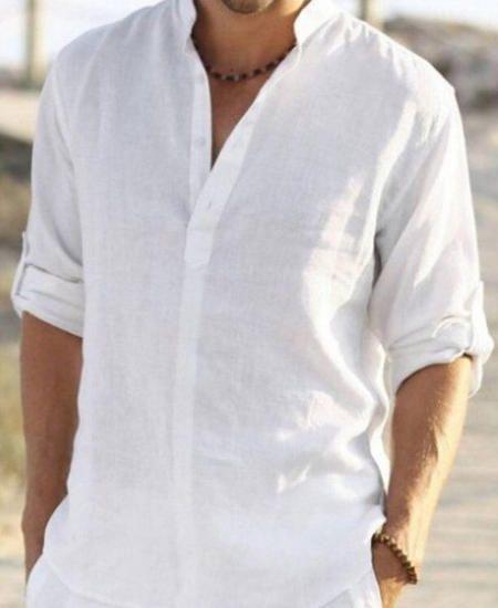Man white linen shirt for beach wedding party