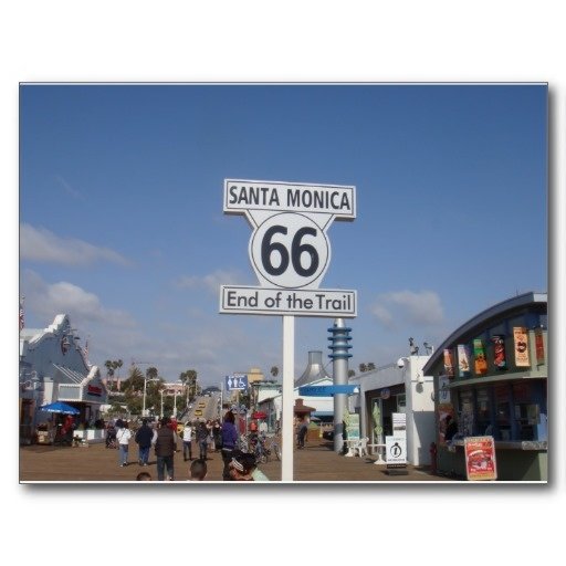 Santa Monica California Rt 66 Postcard