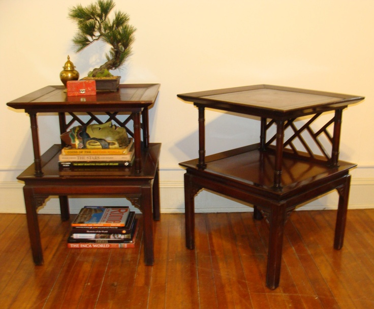 Vintage PAIR TALL Chinese Chippendale Ornate Nightstands LARGE Pagoda End  Tables Chinoiserie Hollywood Regency Set.