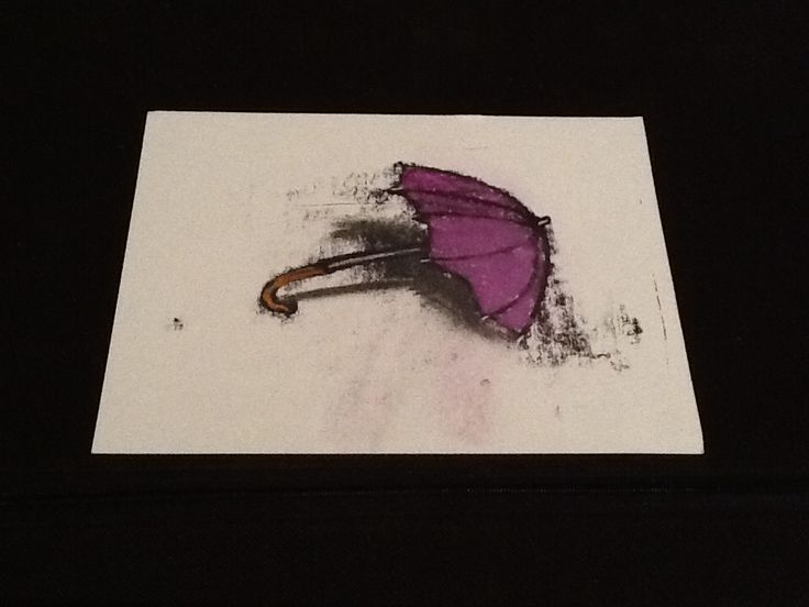 Epic Purple brolly Dan Young Mono Print and pastel