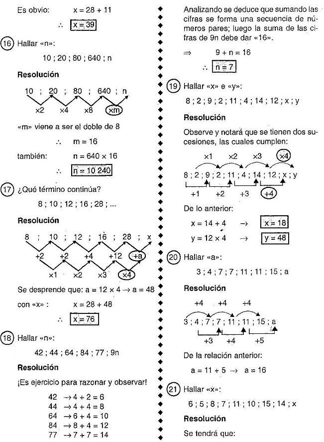Sucesiones numéricas : Es una secuencia ordenada de números , dispuestos entre si por una ley de formación , la cuál se obtiene empleando la...
