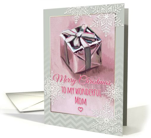 Merry Christmas to my wonderful Mom, gift painting, snowflakes card