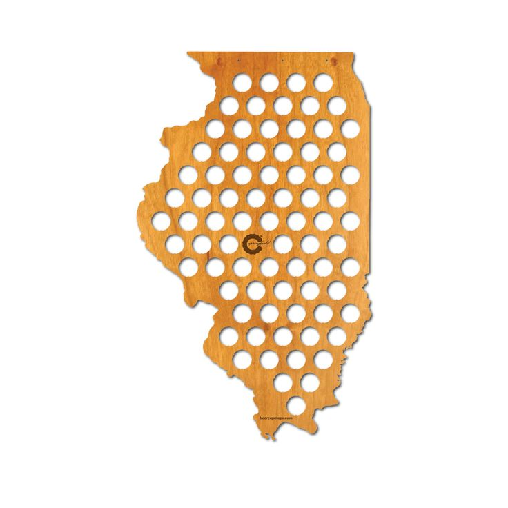 Beer Cap Map of Illinois. A state filled with great brewers.