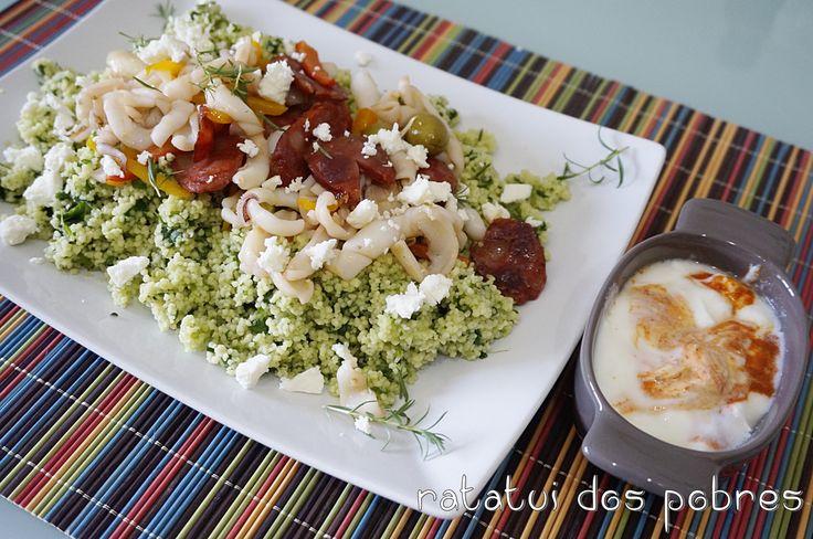 Chouriço & lulas c/ salada de couscous grega