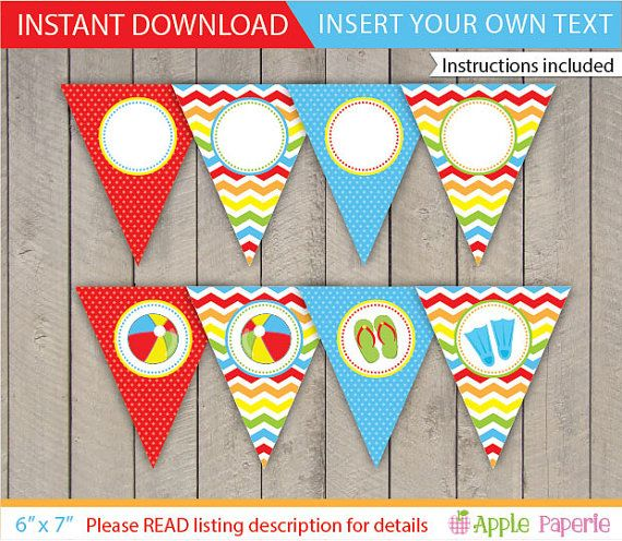 Pool Party Banner / Pool Banner / Kids Pool Party Banner / Pool Party Printable / Pool Decoration / Pool Printable / INSTANT DOWNLOAD by ApplePaperie
