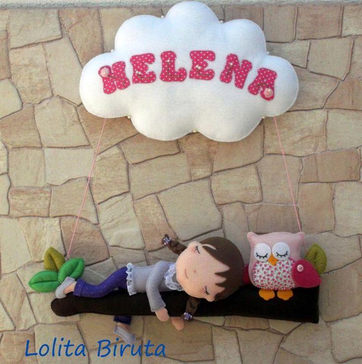 niña en árbol, name banner #felt #name #banner