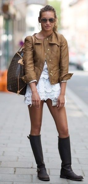 leather jacket, lace dress, LV bag and comfy boots