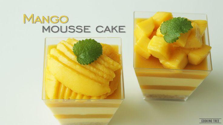 노오븐 ๑◕‿‿◕๑ 망고 크림치즈 무스케이크 만들기:How to make Mango mousse cake with Cream ch...