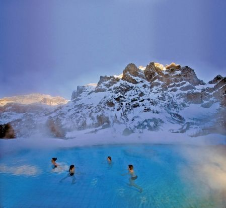 swimming in the thermal water of the alps in Switzerland