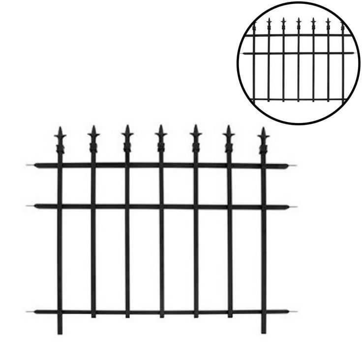 Garden Fence Patio Finial Section Outdoor Landscaping Edging Classic Steel Black #GardenFence