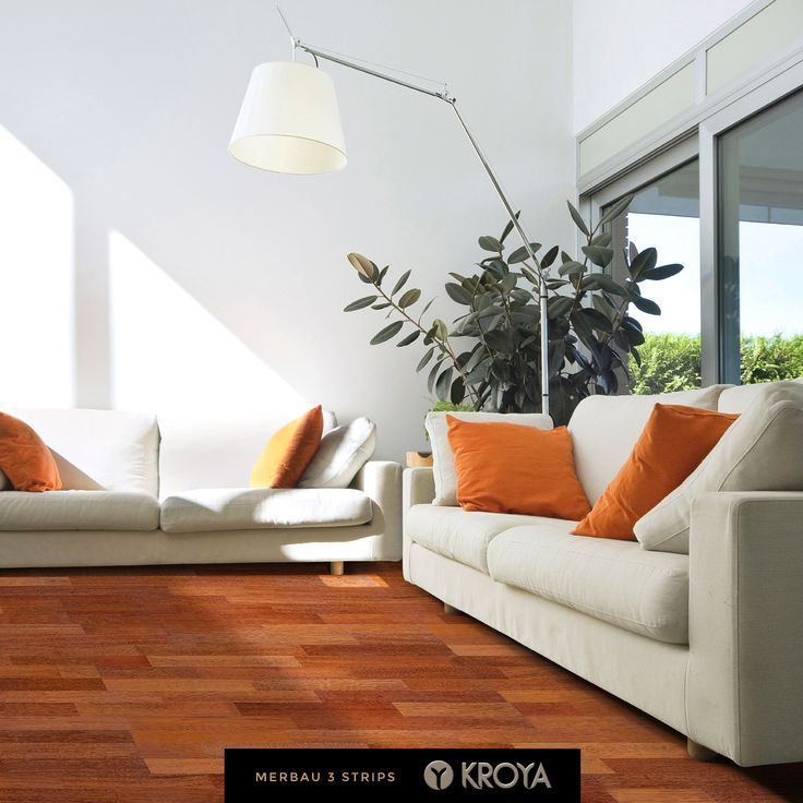 KROYA Merbau 3 Strips is exotic but simple. Its motif is soft with grain straight to interlocked with bright orangish color. This is the wood that can gather the family together as it easily summon comfort and warmth in every space.  Floor Pictured = KROYA Merbau 3 Strips = 15 x 185 x 2200 mm www.kroyafloors.com