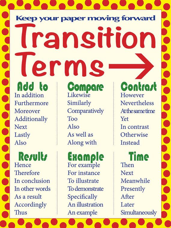 is when a transition word