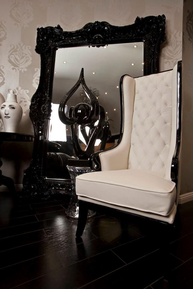 "Black & White Modern ""Black Heart Suit :Huge Baroque Mirror, Tufted High Back Chair."