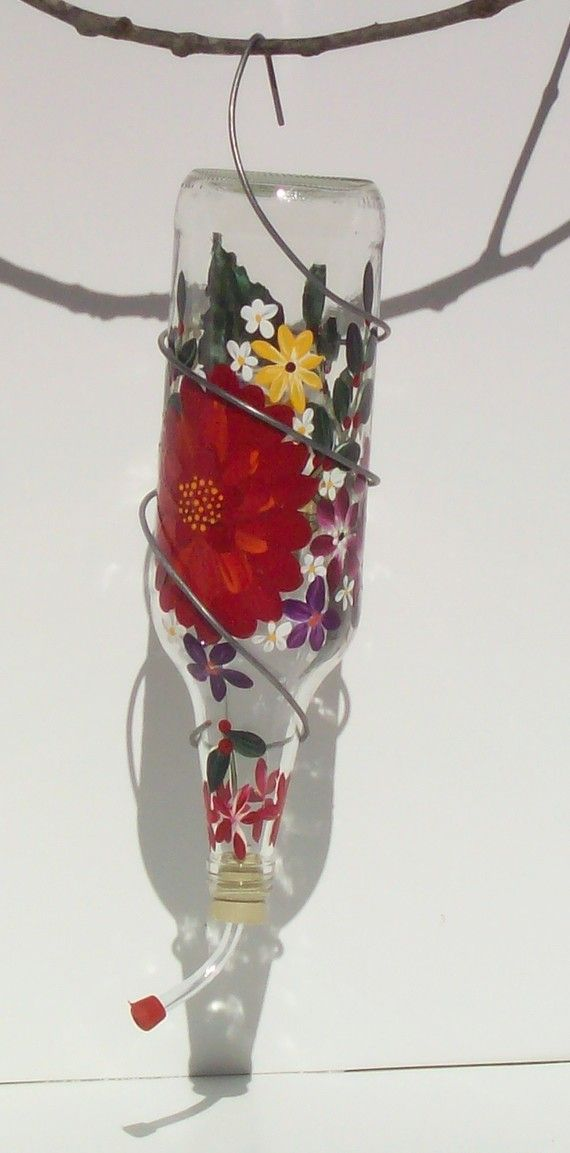Hummingbird feeder hand painted recycled glass inspiration for Simple glass tubes