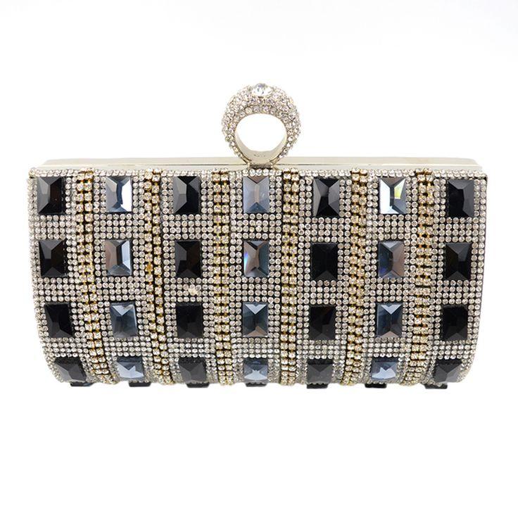 Acrylic Diamonds Women Clutch Evening Bags Acrylic Wedding Bride Handbags Black  Silver Gold Shoulder Bags With Chains