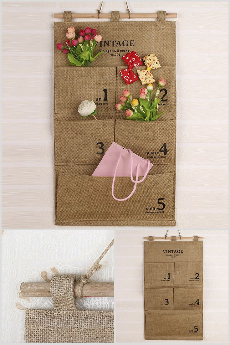 The Organizer is for the storage different items in a kitchen or bathroom. It Made of natural cotton, has a vintage style. It has 5 pockets. Price $9.99 #Vintage #Home