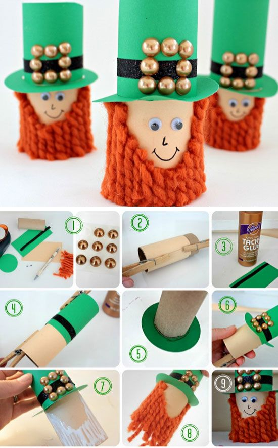 Toilet Paper Leprechauns | Click Pic for 17 Easy St Patricks Day Crafts for Kids to Make | Easy St Patricks Day Crafts for Toddlers to Make