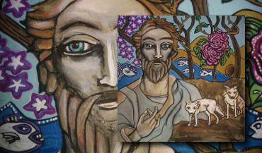 Saint Andrew with wolves  #handpainted #icons #woodicons #saints #saintandrew #artforsale #apostle